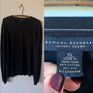 Men's Banana Republic Black V Neck Sweater